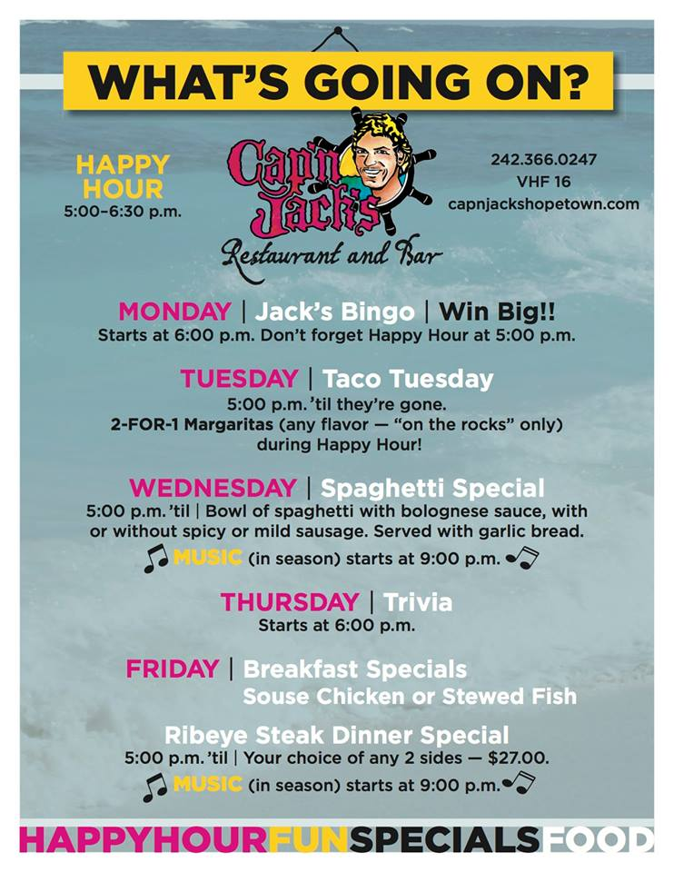 Cap N Jacks Hope Town Restaurant Events